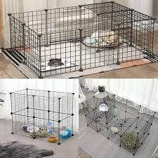 Pet Fence Free Diy Small Animal Cage Puppy Hamster Cat Portable Wire Fence Outdoor And Indoor 4 5 6 8 Panels Each Panel Size Is 13 8 X13 8 Black Wish