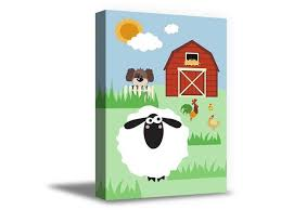 Awkward Styles Farm Animals Framed Art Sheep Art Farm Canvas Decor Kids Room Wall Art Cute Animals Ready To Hang Decals Sunny Household Newborn Baby Room Wall Decor Farm Wallpapers Made In