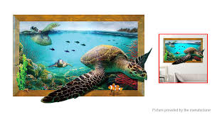 4 79 Free Shipping 3d Sea Turtle Styled Bedroom Home Background Wall Decor Sticker 3d Sea Turtle Styled At M Fasttech Com Fasttech Mobile