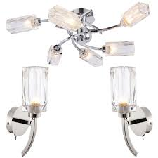 6 bulb ceiling lamp 2x matching wall