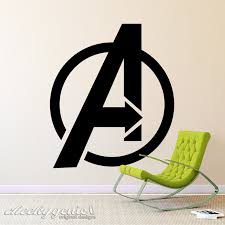 Marvel Avengers Logo Vinyl Wall Art Decal Sticker Silhouette Boys Room Child Ebay