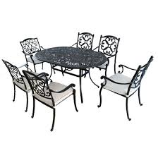 cast aluminum patio dining oval table