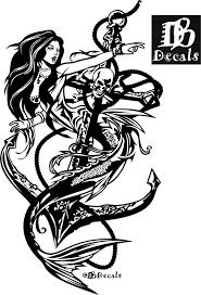 Amazon Com Mermaid Sexy Girl Skull Anchor Fantasy Car Boat Truck Window Vinyl Decal Sticker Handmade