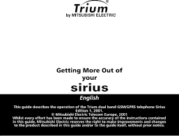 Mitsubishi Trium Sirius Operation Manual