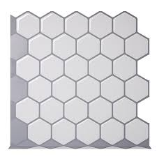 Hexagon Off White Vinyl Sticker Self Adhesive Wallpaper 3d Peel And Stick Square Wall Tiles For Kitchen And Bathroom Backsplash Wallpapers Aliexpress