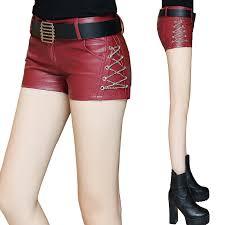 women pu cross chains mini shorts with