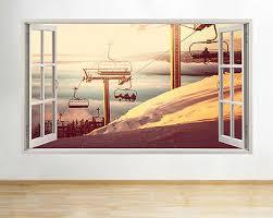 H357 Ski Lift Mountain Scenic Snow Window Wall Decal 3d Art Stickers Vinyl Room