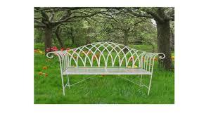curved cream metal garden bench