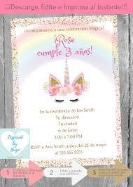 Invitacion Unicornio Fiesta De Cumpleanos Nina Invitacion
