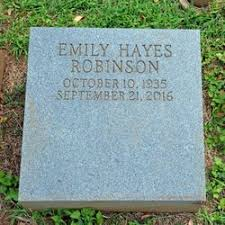 """Emily """"Emmy"""" Hayes Robinson (1935-2016) - Find A Grave Memorial"""