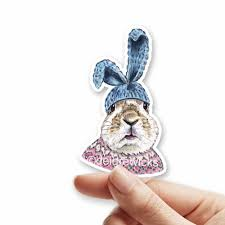 Knitted Rabbit Sticker Glossy Vinyl Die Cut Sticker For Crafts Planners Card Making Tags And More Deidre Wicks