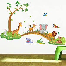 Amazon Com Jungle Animal Across The Bridge Removable Cartoon Wall Sticker Wall Decal Wall Decor Wallpaper For Kids Children Room Baby