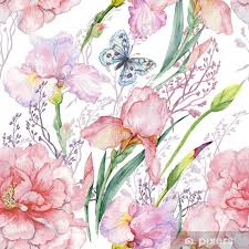 Seamless Pattern Irises Peonies Flowers Butterfly Exotic Print Fabric Wallpaper Watercolor Illustration Wall Mural Pixers We Live To Change