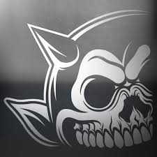 Left Horn Skull Car Decal Painted Demons Art Design And Apparel