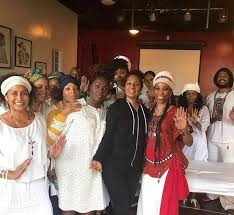 """Queen I-Wisdom 🇳🇬✨ on Twitter: """"Here is Nipsey Hussle's mother, Angelique  Smith pictured with the women of the KRST Unity Center of AfRaKan Spiritual  Science. One of the women, Ankh Udja Seneb"""
