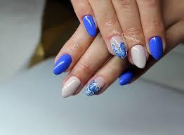 Paznokcie Niebieskie Kwiaty Wiosenne Paznokcie Paznokcie