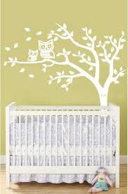 Personalized Tree And Owl Nursery Wall Decal In White With Custom Owl Accent Color Owl Nursery Wall Owl Nursery Nursery Wall Decals