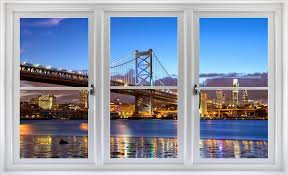 Amazon Com 24 Window Landscape Scene Instant City View Philadelphia Skyline Dusk 1 White Closed Wall Sticker Room Decal Home Office Art Decor Den Mural Man Cave Graphic Small Home Kitchen
