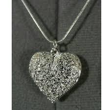 filigree heart puffy pendant necklace