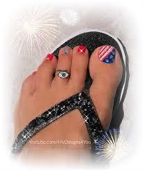 4th july toe nail art designs