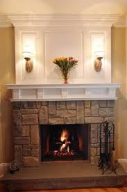 cultured stone fireplace with white
