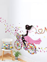Miniso Women Floral Girl Wall Decal