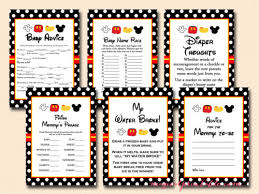 mickey mouse baby shower games pack