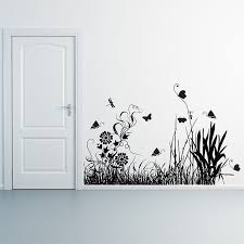 Flower Grass And Butterfly Vinyl Wall Art Decal