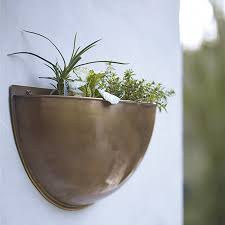 Sola Brass Wall Planter