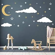 Amazon Com Moon Stars And Clouds Wall Decals Kids Wall Decoration Nursery Wall Decal Wall Decal For Nursery Vinyl Wall Stickers For Children Baby Kids Boys Girls Bedroom Y08 White Gold Home Kitchen