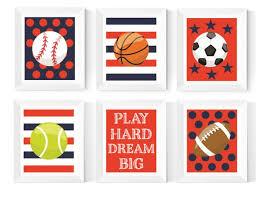 Sports Bedroom Decor Kids Sports Art Printables Navy And Etsy