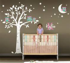 Owls Tree Moon Stars Wall Decal Nursery Baby Room Personalized Initial Name Ebay