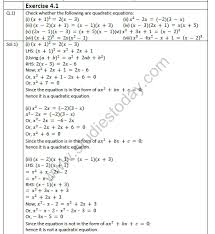mathematics chapter 4 quadratic equations
