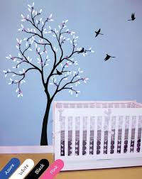 Large Black Tree With Leaves Fruit Birds Nursery Wall Decal Decor Walldecaldesigns