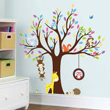 Colorful Tree Animal Wall Stickers For Kids Room Decoration Monkey Owl Zoo Cartoon Diy Children Baby Home Decal Mural Art Sticker For Kids Room Wall Stickers For Kidsanimal Wall Stickers Aliexpress