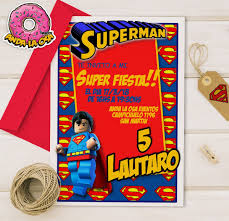 Tarjetas Invitaciones Cumpleanos Superman Lego X10uni 60 00