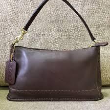 brown leather poachette bag on carou