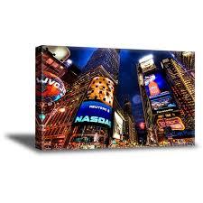 Awkward Styles Nyc Night Cityscape Canvas Decor New York City Lights Wall Art Giant City Poster