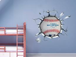Baseball Breaking Wall Decal Sticker Kids Room Man Cave Decor Gift For Men Baseball Decal Mlb Baseball Wall Decal Baseball Wall Decor Baseball Wall