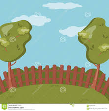 Wooden Fence On The Backyard Green Garden With Grass And Trees Summer Landscape Background Vector Illustration Stock Vector Illustration Of Landscape Foliage 107273736