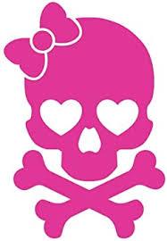 Amazon Com Milk Mug Designs Girly Skull And Crossbones Design Hot Pink Vinyl Automotive Decal 6 Tall Automotive