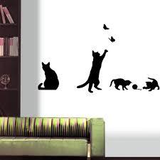 Rumas Naughty Cat Wall Decals For Living Room Bedroom Bathroom Decor Diy Peel Stick Wallpaper Car Decals For Women Kids Boys Girls Students Black Rumas Blog Transfermyauto Com