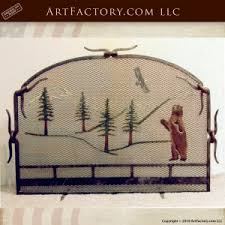 Wilderness Theme Fireplace Screen Blacksmith Hand Forged Design