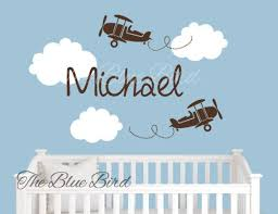 Name Wall Decal Airplane Name Decal Baby Boy Nursery Etsy