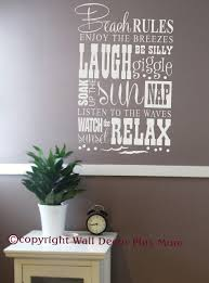 Beach Rules Subway Art Phrases And Quote Wall Sticker Vinyl Decals 23x15