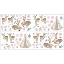 Shop Sweet Jojo Designs Boho Woodland Deer Floral Wall Decal Stickers Art Nursery Decor Set Of 4 Blush Pink Mint Green And White Overstock 29343582