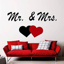 Amazon Com Ditooms Mr Mrs Wall Decals Heart Decal Bedroom Decor Vinyl Lettering Weeding Gift Couple Wall Decal Stickers Home Kitchen