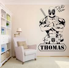 Wall Decoration Deadpool Room Decal Kidsroom Boys Sticker Vinyl Removeable Poster Comics Personalized Name Design Mural Ly295 Wall Stickers Aliexpress