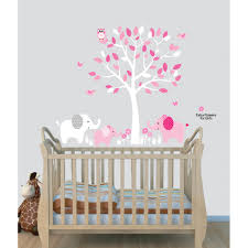 Baby Pink Tree Wall Decals With Elephant Stickers For Play Rooms