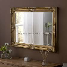 standing gold frame wood wall mirror